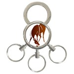Bowing horse 3-Ring Key Chain