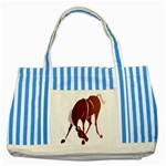 Bowing horse Striped Blue Tote Bag