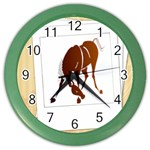 Bowing horse Color Wall Clock