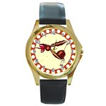 Braying donkey Round Gold Metal Watch