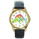 Drinking giraffe Round Gold Metal Watch