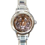 BENGAL TIGER ANIMAL CAT ROUND ITALIAN CHARM WATCH