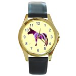 Swirl donk Round Gold Metal Watch