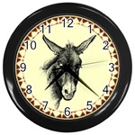 Donkey 3 - Wall Clock (Black)