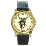 Donkey 3 - Round Gold Metal Watch