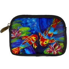 Koi Encounter By Alana   Digital Camera Leather Case   B99tpoaxoluj   Www Artscow Com Front