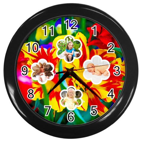 Summer Flower Clock By Danielle Christiansen   Wall Clock (black)   Ctw2jlv6028y   Www Artscow Com Front