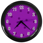 purple clock - Wall Clock (Black)