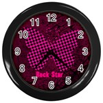 rock star chick - Wall Clock (Black)