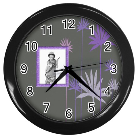 Purple Petals Clock By Catvinnat   Wall Clock (black)   Ovm5gii151yn   Www Artscow Com Front