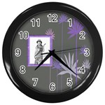 Purple Petals Clock - Wall Clock (Black)