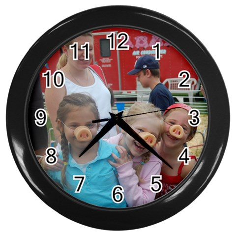 3 Little Piggies By Marcia Ray   Wall Clock (black)   O6y5xp1tjn0l   Www Artscow Com Front