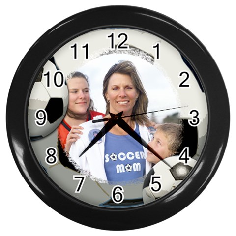 Soccer Ball Clock By Angela   Wall Clock (black)   2iqyhxzhobg7   Www Artscow Com Front