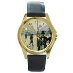RainyParis Round Gold Metal Watch