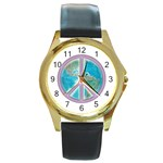 Peace Round Gold Metal Watch