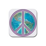 Peace Rubber Square Coaster (4 pack)