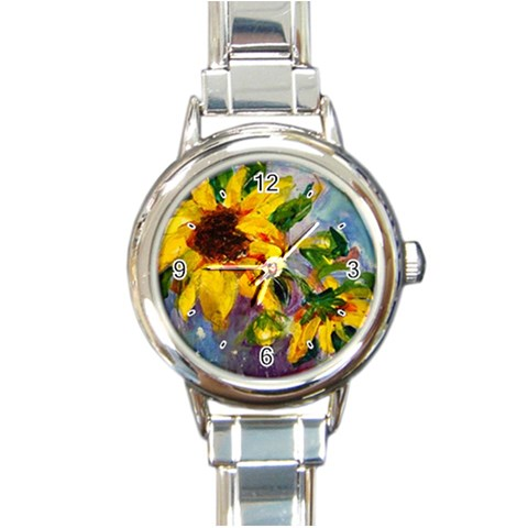 Single Sunflower By Alana   Round Italian Charm Watch   J3288w0ldwvz   Www Artscow Com Front