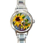 Single Sunflower - Round Italian Charm Watch