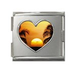 Sun-Set Mega Link Heart Italian Charm (18mm)
