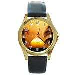 Sun-Set Round Gold Metal Watch