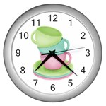 Tea Party Clock - Wall Clock (Silver)