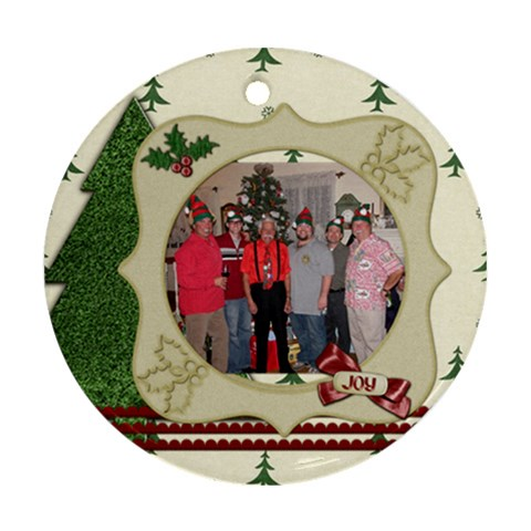 Boysxmas By Starla Smith   Ornament (round)   Nhpim5dlxiut   Www Artscow Com Front