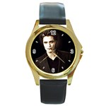 New Moon Round Gold Metal Watch