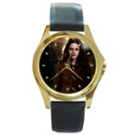 38 Round Gold Metal Watch
