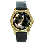 15 Round Gold Metal Watch