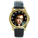 9 Round Gold Metal Watch