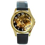 8 Round Gold Metal Watch
