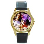 7 Round Gold Metal Watch