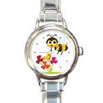 CUTE BUMBLE BEE FLOWERS ROUND CHARM WATCH