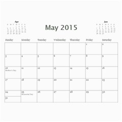 2015 Basic Black & White Calendar By Mim May 2015