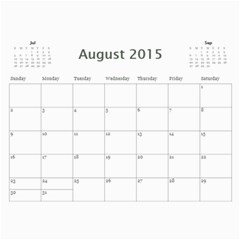 2015 Basic Black & White Calendar By Mim Aug 2015