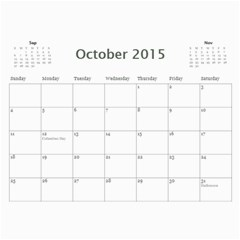 2015 Basic Black & White Calendar By Mim Oct 2015