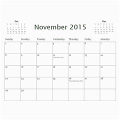 2015 Basic Black & White Calendar By Mim Nov 2015