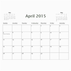 2015 Basic Black & White Calendar By Mim Apr 2015