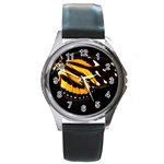 butterfly-pop-art-print-11 Round Metal Watch