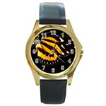 butterfly-pop-art-print-11 Round Gold Metal Watch