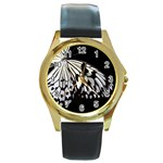 butterfly-pop-art-print-13 Round Gold Metal Watch