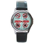 Subway_sign Round Metal Watch