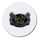 Rock-n-Roll-For-Life-Tattoo-Belt-Buckle Round Mousepad