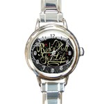 Rock-n-Roll-For-Life-Tattoo-Belt-Buckle Round Italian Charm Watch