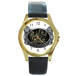 Rock-n-Roll-For-Life-Tattoo-Belt-Buckle Round Gold Metal Watch