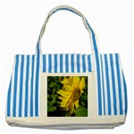 flowers_30 Striped Blue Tote Bag