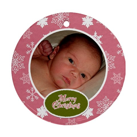 Pink & Green Christmas Ornament By Klh   Ornament (round)   B7jdb6j1gmdx   Www Artscow Com Front
