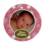 Pink & Green Christmas Ornament - Ornament (Round)