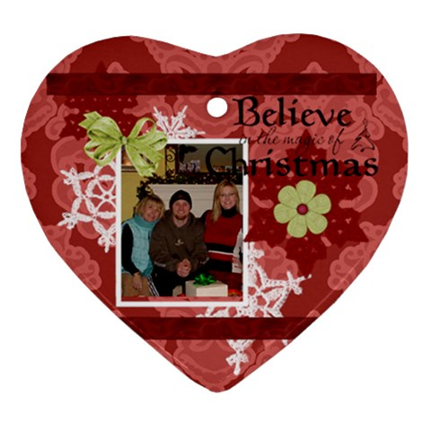 Mich/chad/me Christmas By Maureen Bayless   Ornament (heart)   9hnj5k38kwbm   Www Artscow Com Front