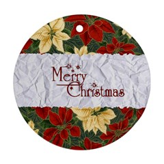 Merry Christmas 2 By Carmensita   Round Ornament (two Sides)   Up27pq23pv6s   Www Artscow Com Back